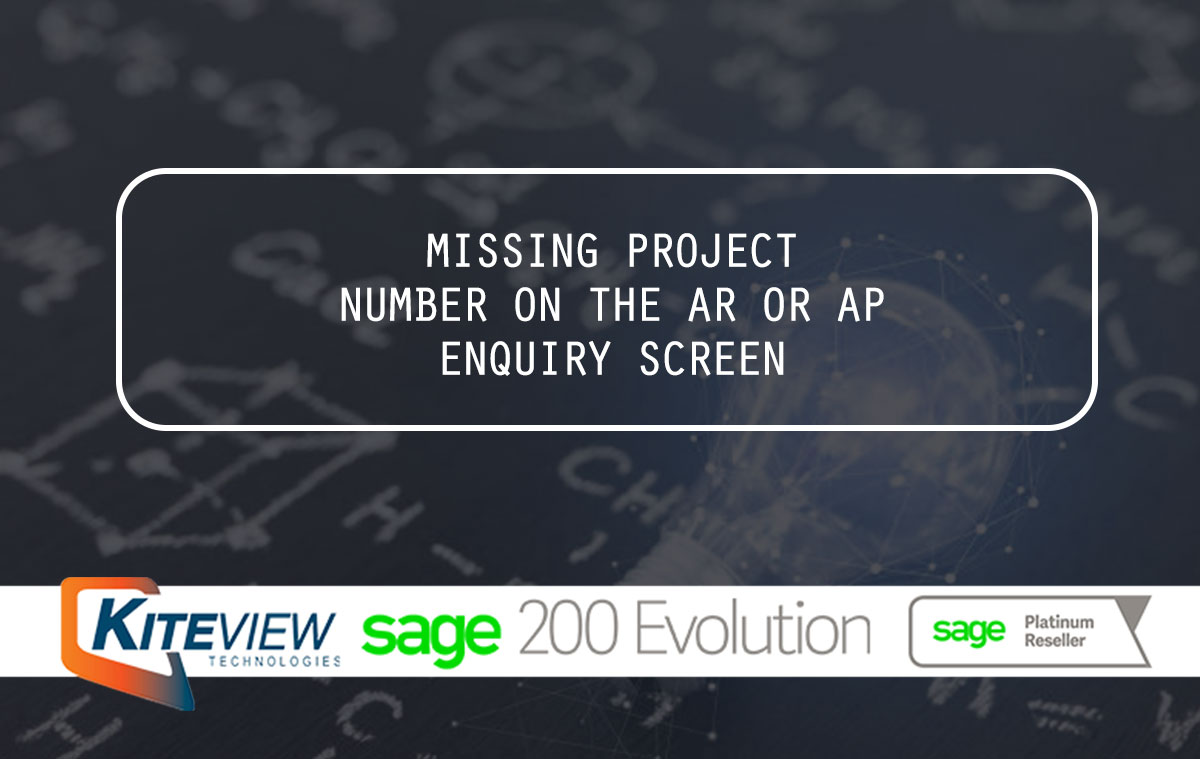 Missing Project Number On The AR Or AP Enquiry Screen