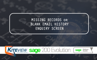 Missing Records or Blank Email History Enquiry Screen