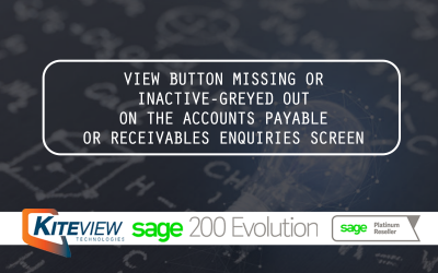 View Button Missing Or Inactive-Greyed Out On The Accounts Payable Or Receivables Enquiries Screen
