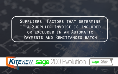 Suppliers: Factors that determine if a Supplier Invoice is included or excluded in Automatic Payments Batch