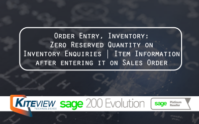 Order Entry | Inventory Zero: Reserved Quantity on Inventory Enquiries  Item Information after entering it on Sales Order