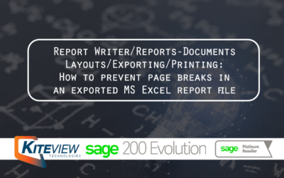 How to prevent page breaks in an exported MS Excel report file